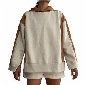 NEW Zara Color Block Sweatshirt Hoodie with Slits